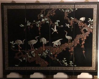 Four-Panel Modern Chinese Lacquer Screen/Room Divider or Wall Mount