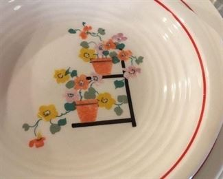 Glazed ceramic dishes, hand painted, made in USA