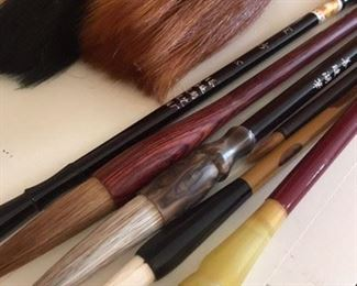 Various natural bristle Japanese and Chinese calligraphy brushes