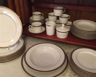 "Fine china as a service for 8 in ""Ebony Circle"" pattern by Mikasa, along with large round platter, vegetable bowl, creamer & sugar"