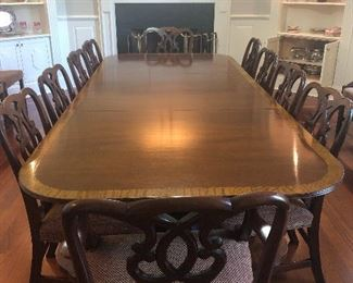 Beautiful dining table w leaves and 16 chairs.  Asking $5500 These chairs were beyond expensive.  Make me reasonable offer ...I'm open to it.