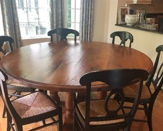Farmhouse table and 7 chairs.  Great for family dinners/ puzzles/games.    $695