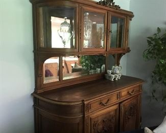 Antique French Curio Cabinet w/rounded corners,