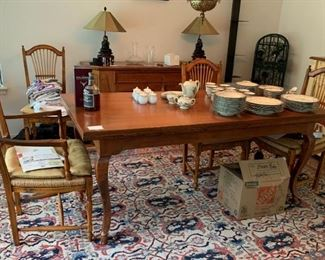 Country Style Dining Table - This Rug Is Not For Sale - See Others