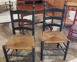 Early Rush Bottom Ladder back chairs - Matched Set