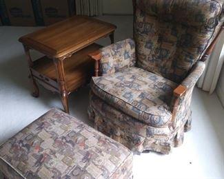 Stuffed chair and matching ottoman