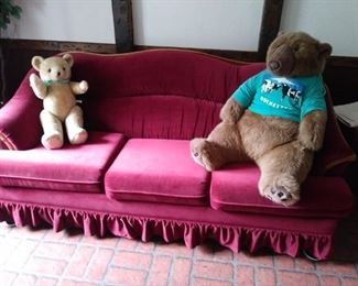 Couch with stuff animals
