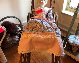 antique china head doll, doll buggy