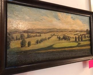 oil painting of Lambert Acres golf course