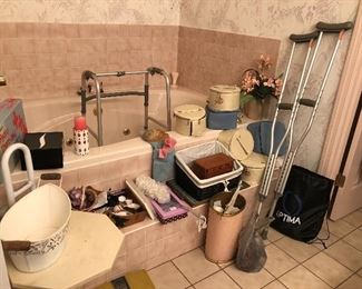 crutches, walker, health and beauty items