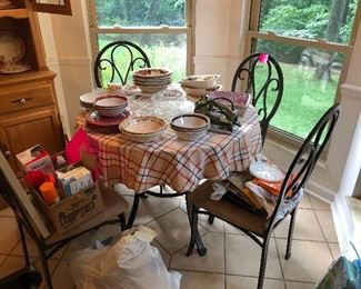 glass top kitchen table and chairs, miscellaneous bowls