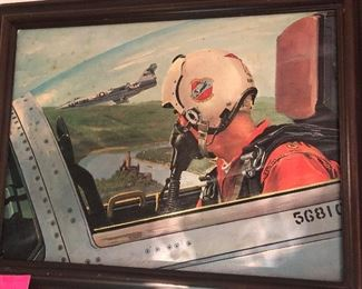 framed 151st Fighter-Interceptor Squadron painting, as found