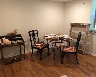 small secretary desk, small kitchen table, wooden shelf/plate rack/display shelf