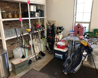 canning jars, canners, coolers, golf clubs