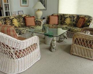 2 Rattan Sofas,  2 Rattan matching chairs