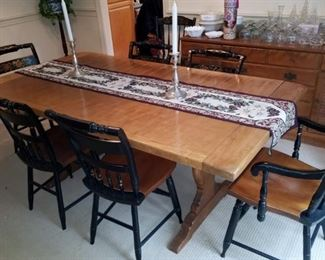 Trestle Dining Table with Hitchcock Chairs