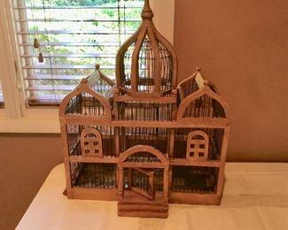 Vintage wood birdcage