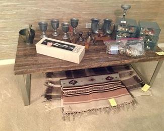 Silver, pewter, rugs, Tom Clarke figures