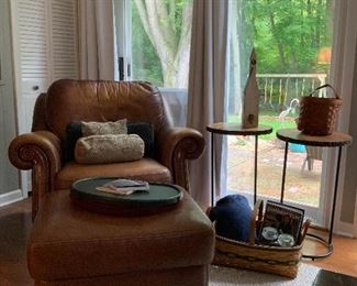 Thomasville Leather Chair & Ottoman