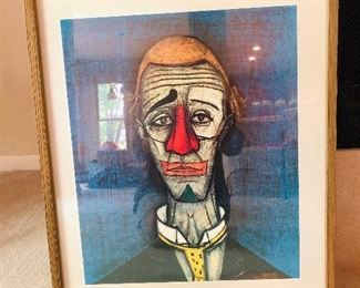 VINTAGE TETE THE CLOWN ABSTRACT LITHO BY BERNARD BUFFETT