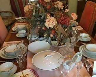 Noritake china - pattern Silverdale and stemware