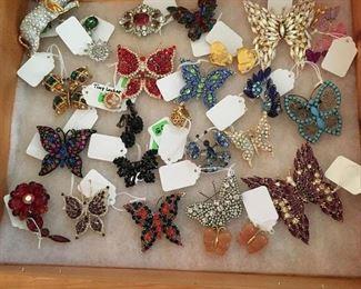 Rhinestone jewelry - many butterflies!