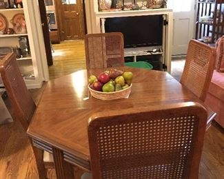 Hexagonal dining room table and chairs