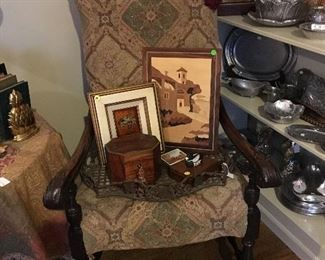 King's upholstered chair and pewter items