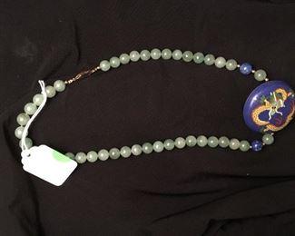 Asian dragon theme cloisonné necklace
