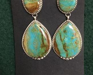 Beautiful large Native American teardrop turquoise earrings