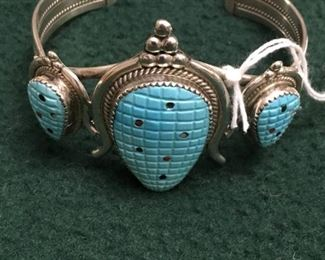 Carved turquoise and sterling corn theme bracelet