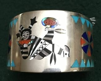 Dennis Edaakie cuff bracelet w/ fine inlay
