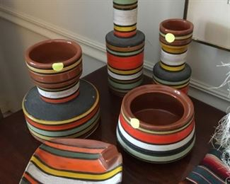Colorful pottery selections