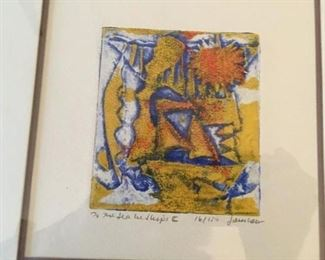 One of a pair of signed artworks