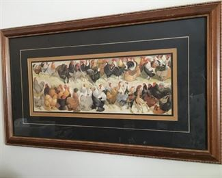 Fun signed art depicting different breeds of chickens