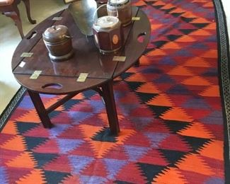 Hand loomed rug with table and 3 antique humidors