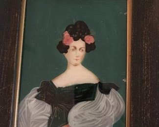 Antique reverse painted portrait