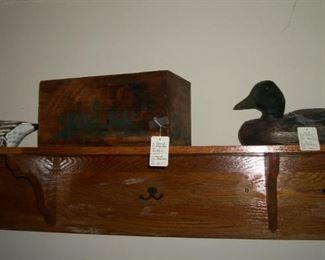 Corned beef wood box and duck decoy
