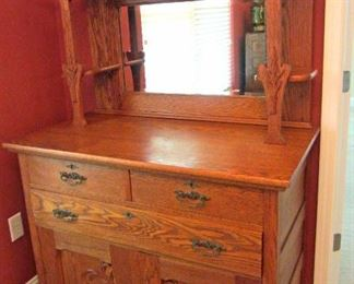 "Antique ""golden oak era"" sideboard/hutch  ....nice size"