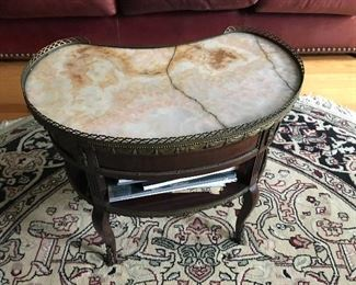 french marble top kidney table