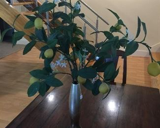 Faux lemon branches in vase