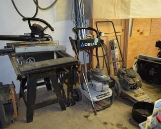 Delta Power Washer, Ryobi Trimmer, Table Saw