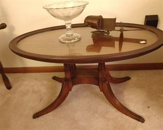 Glass top coffee table, stereoscope. bowl