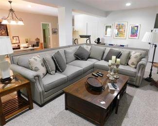 King Hickory Sectional Sofa w/Nail Head Trim