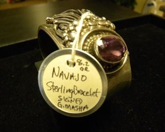 Navajo Sterling Silver Signed Cuff Bracelet