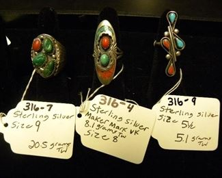 Sterling Silver Turquoise & Coral Rings