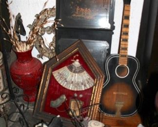 Unique Decorative Items from Foreign Places and Guitar
