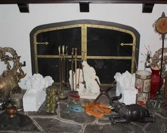 Unique Decorative Items and Fireplace Accessories with Tins, Clock, Elephants and Urns
