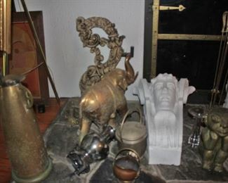 Fireplace Accessories with Tins, Clock, Elephants and Urns
