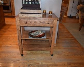 Wooden Kitchen Storage Cart, Silverware